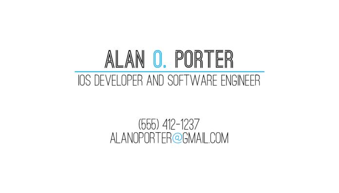 Alan Porter - Business Card